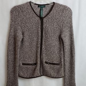 Lauren Ralph Lauren Sweater Jacket Brown Zip Close